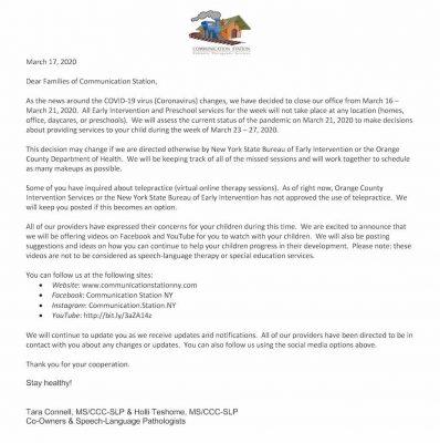 Coronavirus Families Letter 3.17.2020